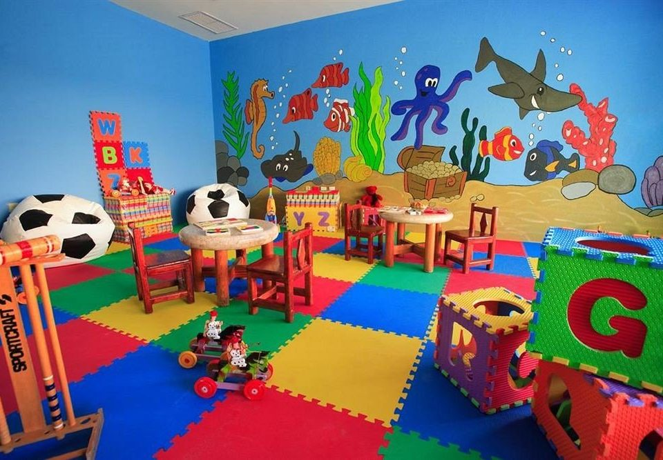 Family Kids Club Modern Resort Waterfront Play kindergarten toy colorful mural Playground illustration Bedroom