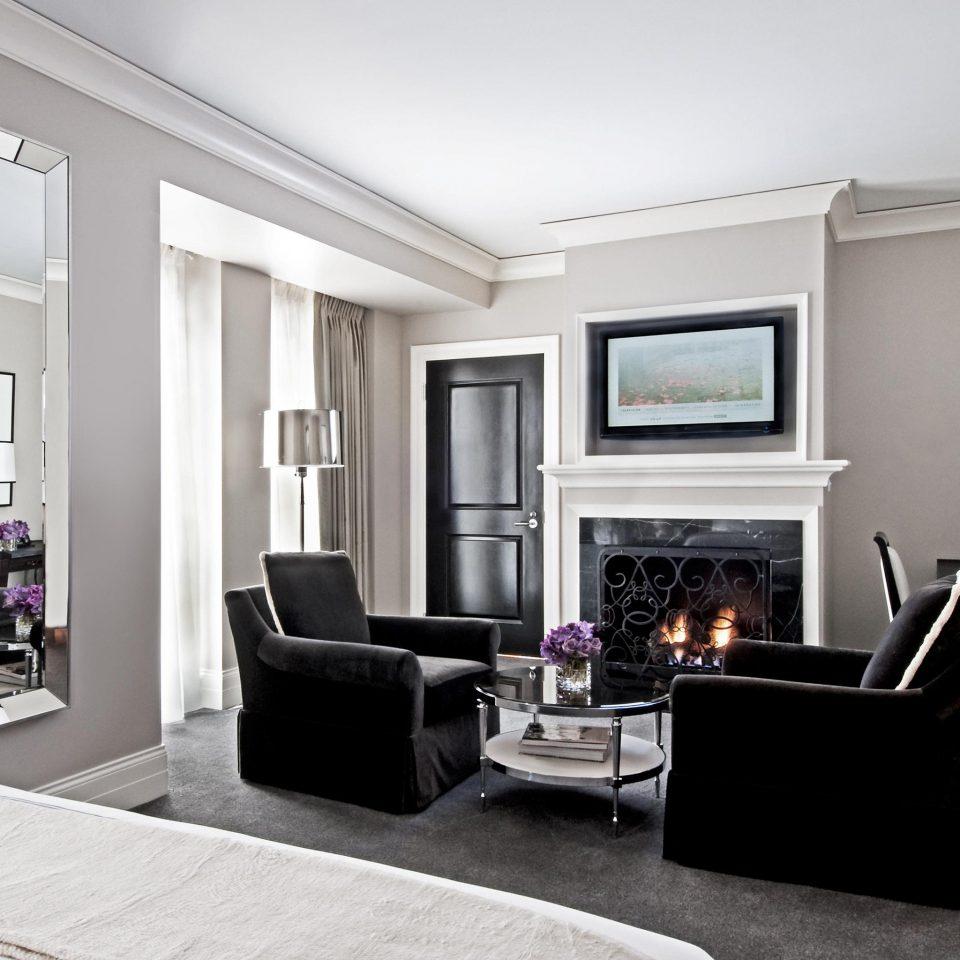 Bedroom Fireplace Hip Luxury Modern Patio living room property home hardwood condominium