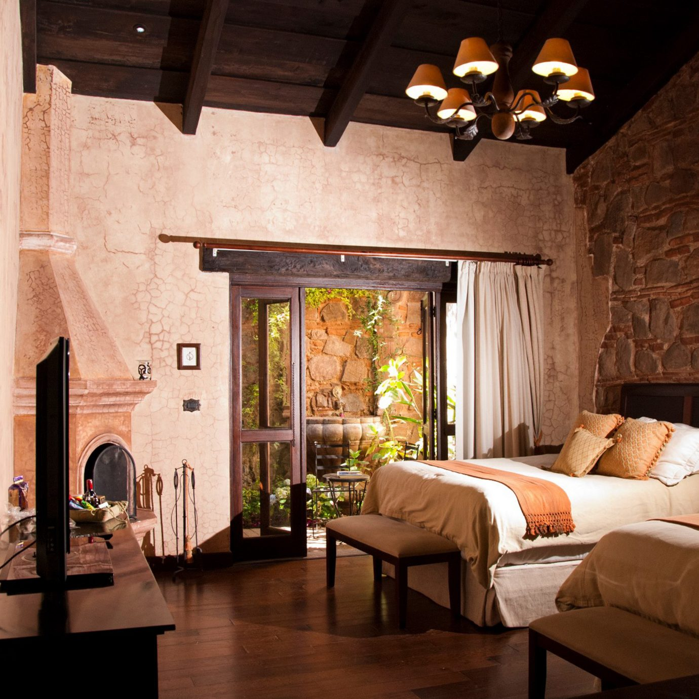 Bedroom Historic Rustic property living room house home cottage Fireplace farmhouse lighting Villa