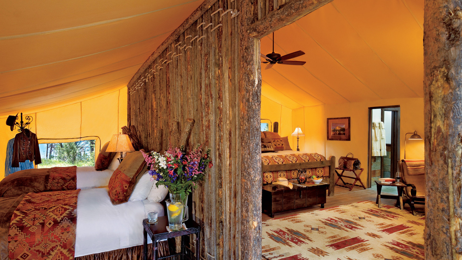 Glamping Hotels Luxury Travel Montana Outdoors + Adventure Trip Ideas sofa property house living room cottage Villa home farmhouse Bedroom mansion Suite