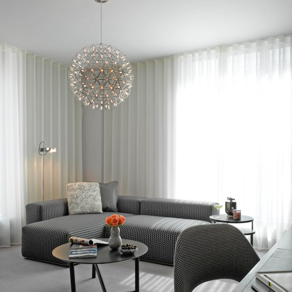 Hip living room lighting home curtain window treatment Bedroom