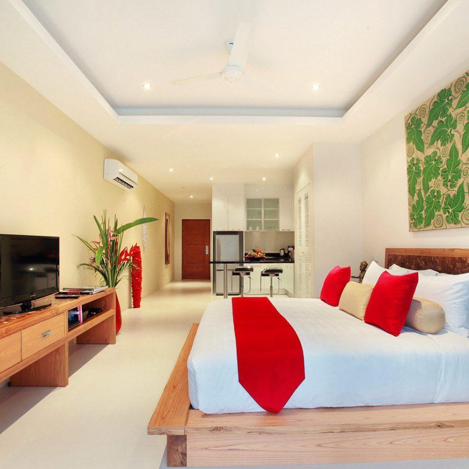 Bedroom Hip Island Kitchen Modern Suite Tropical sofa property living room home cottage condominium flat