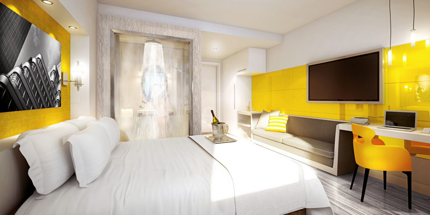 Bedroom Hip Luxury Modern Suite yellow property living room home condominium Villa cottage