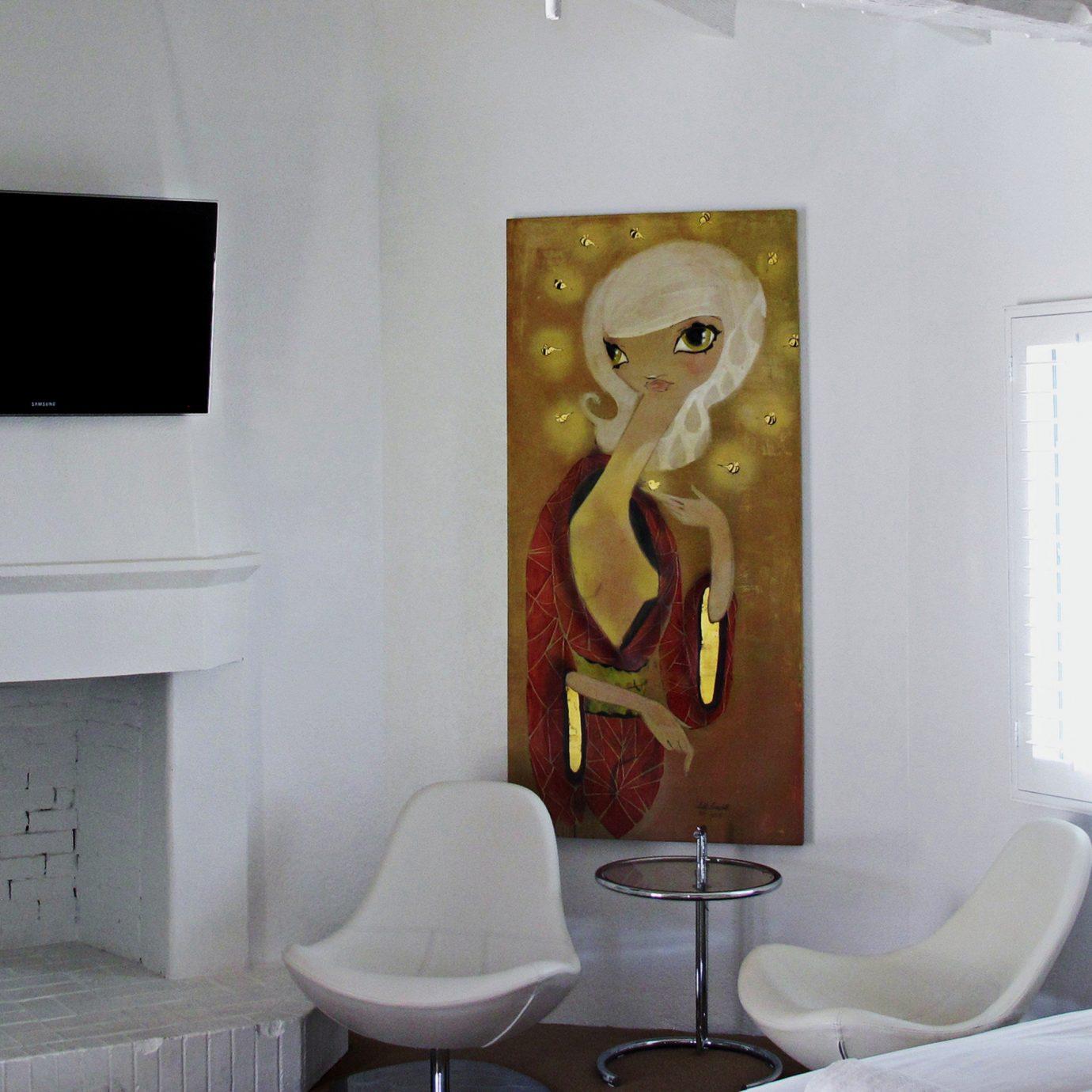 Bedroom Hip Luxury Suite white modern art art mural living room