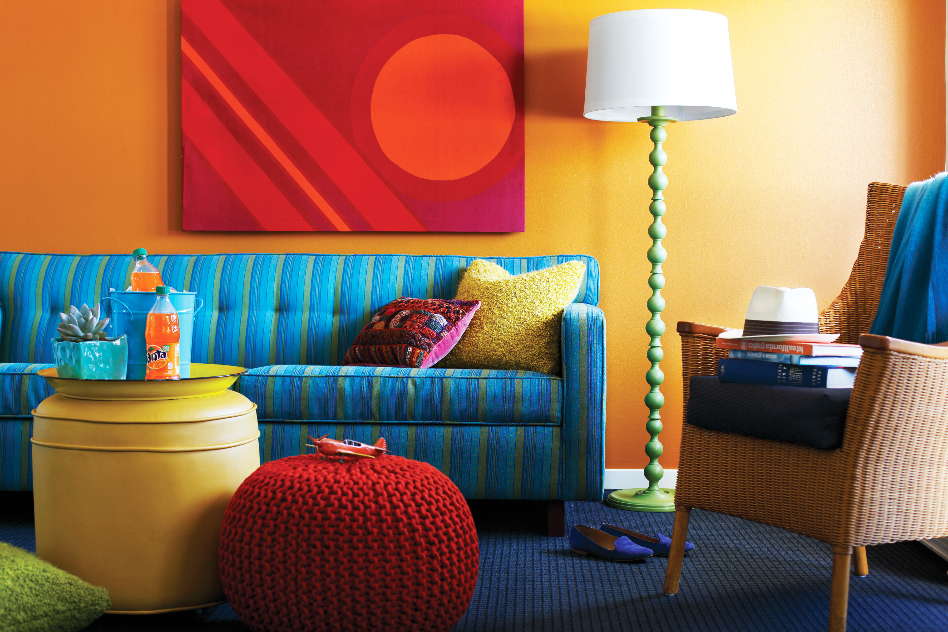 Hip Modern color blue living room yellow red home Suite bed sheet orange colorful Bedroom colored
