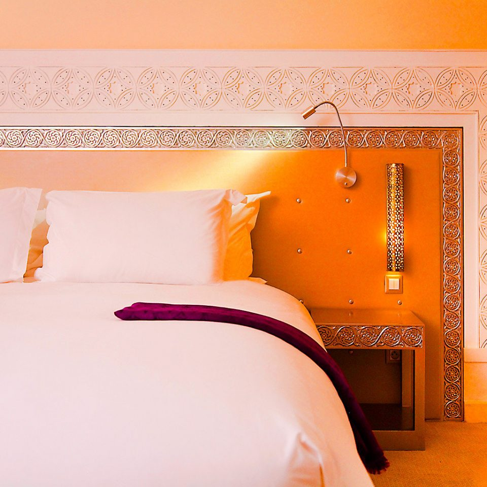 Bedroom Hip Party color pink yellow orange white bed sheet textile pillow wallpaper lamp bedclothes