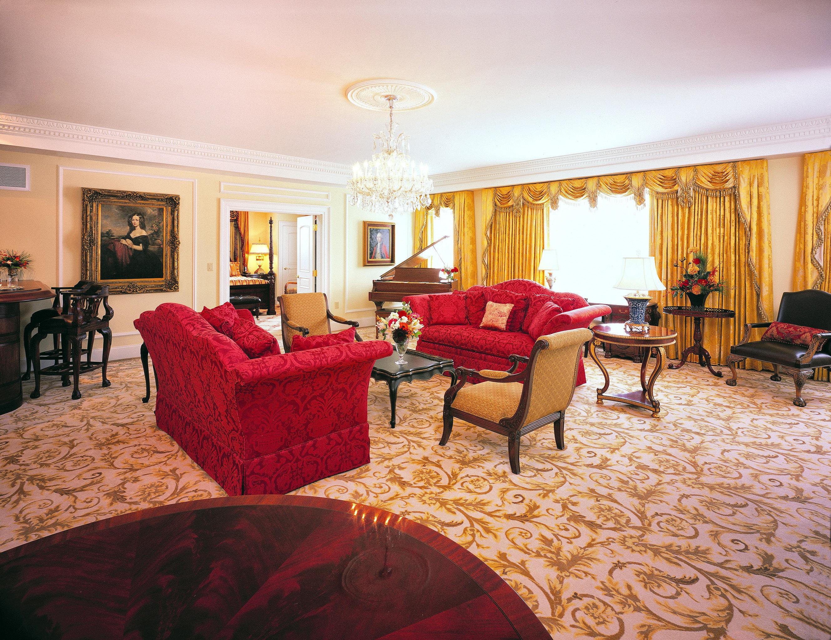 Historic Lounge Luxury sofa property Suite red living room Resort hardwood home Villa cottage mansion Bedroom