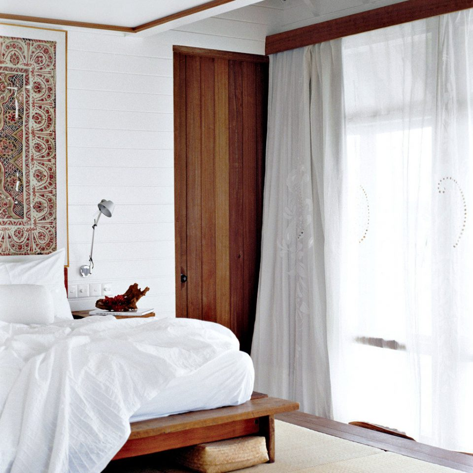Bedroom Honeymoon Luxury Overwater Bungalow Romance Romantic Tropical Waterfront curtain Suite textile window treatment