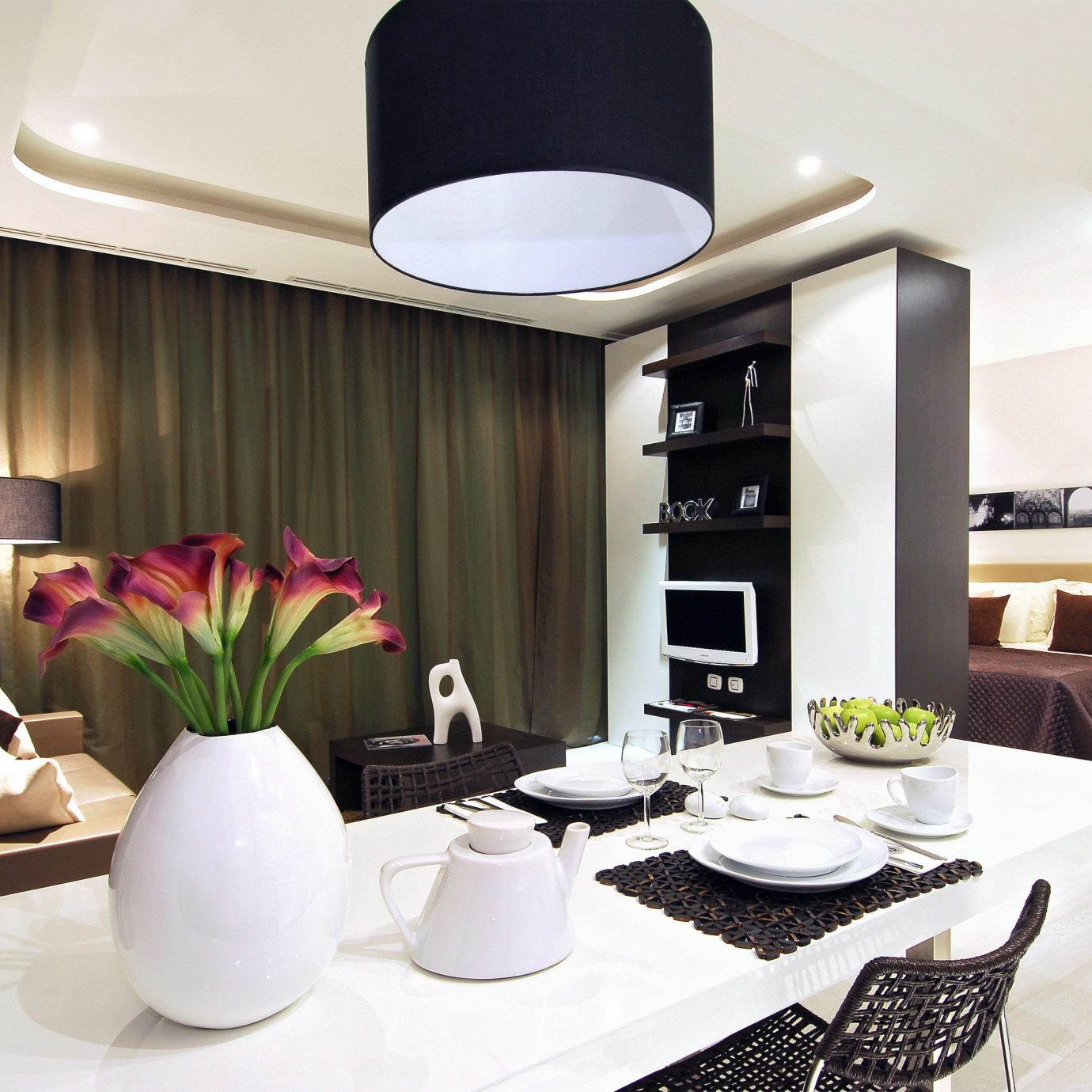 Bedroom Kitchen Modern Suite living room property condominium home lighting Lobby dining table