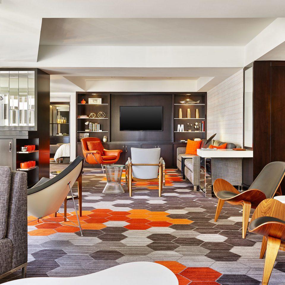 living room property home hardwood condominium Suite Lobby orange Bedroom Modern