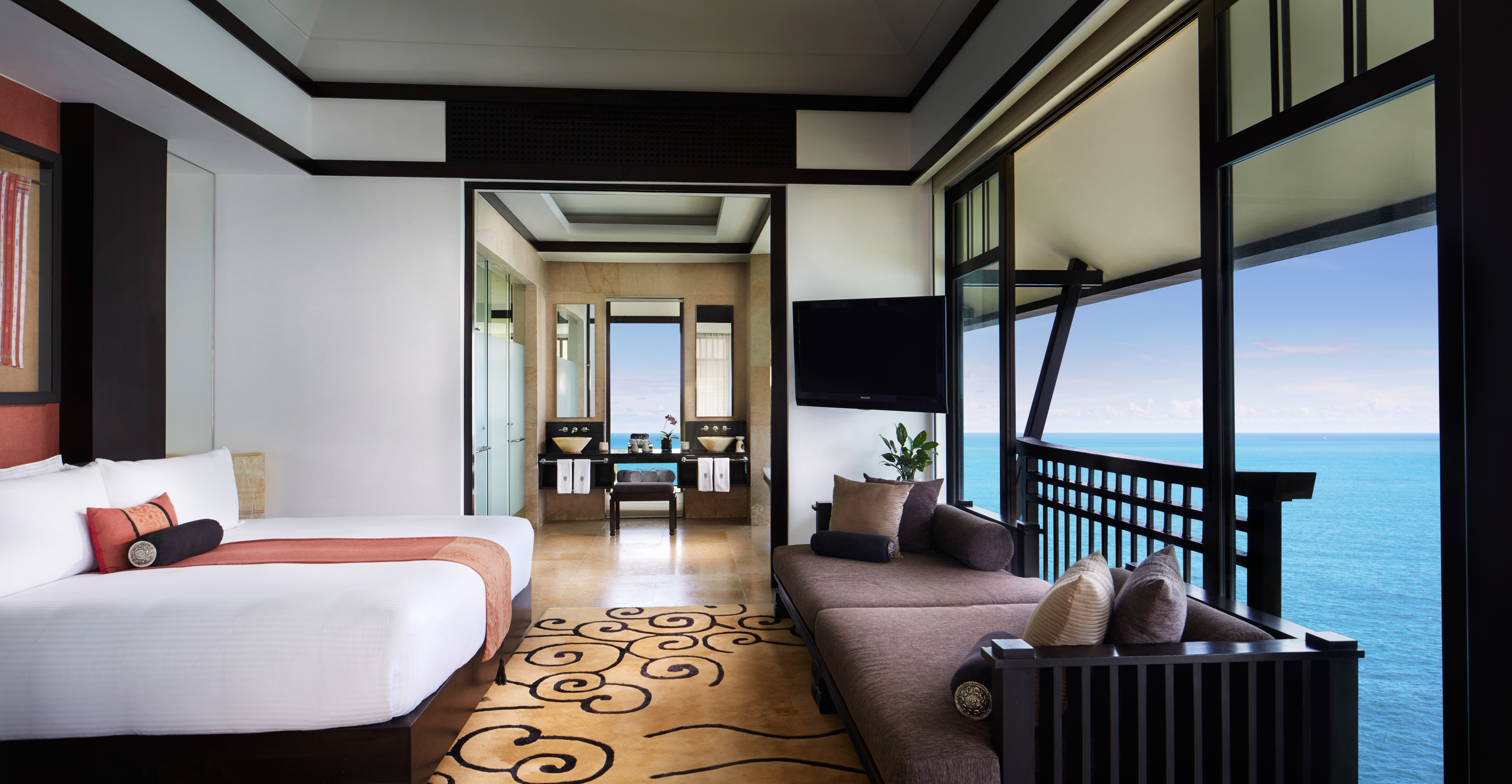 Bedroom Luxury Modern Romantic Scenic views Suite sofa property chair condominium Resort home living room nice Villa mansion cottage
