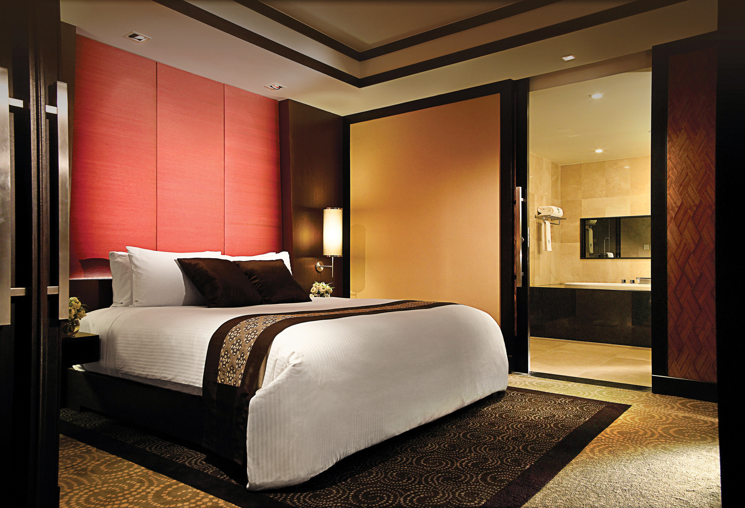 Bedroom Luxury Modern Scenic views Suite property home living room lamp night