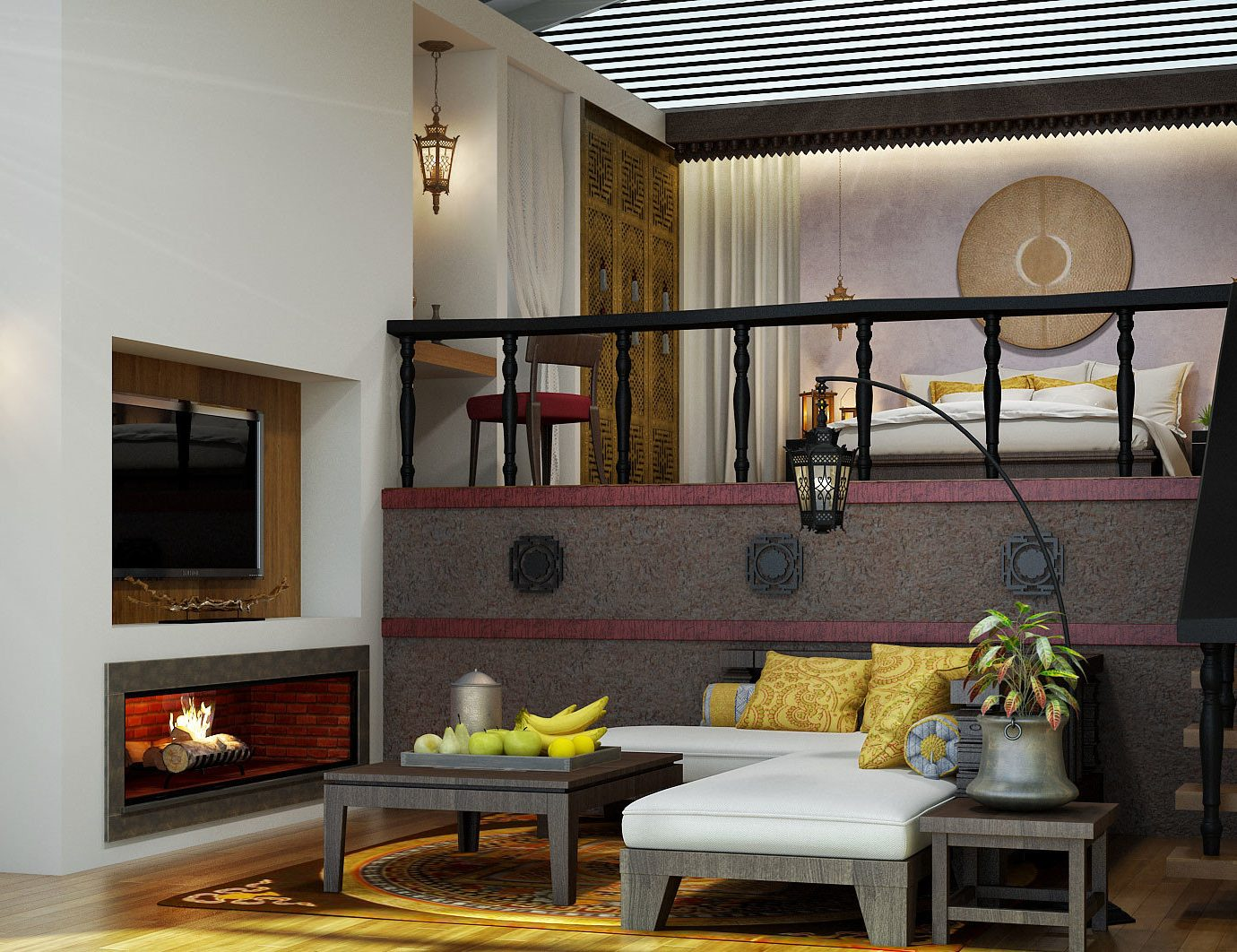 Bedroom Luxury Modern living room property home house cottage farmhouse Villa mansion loft