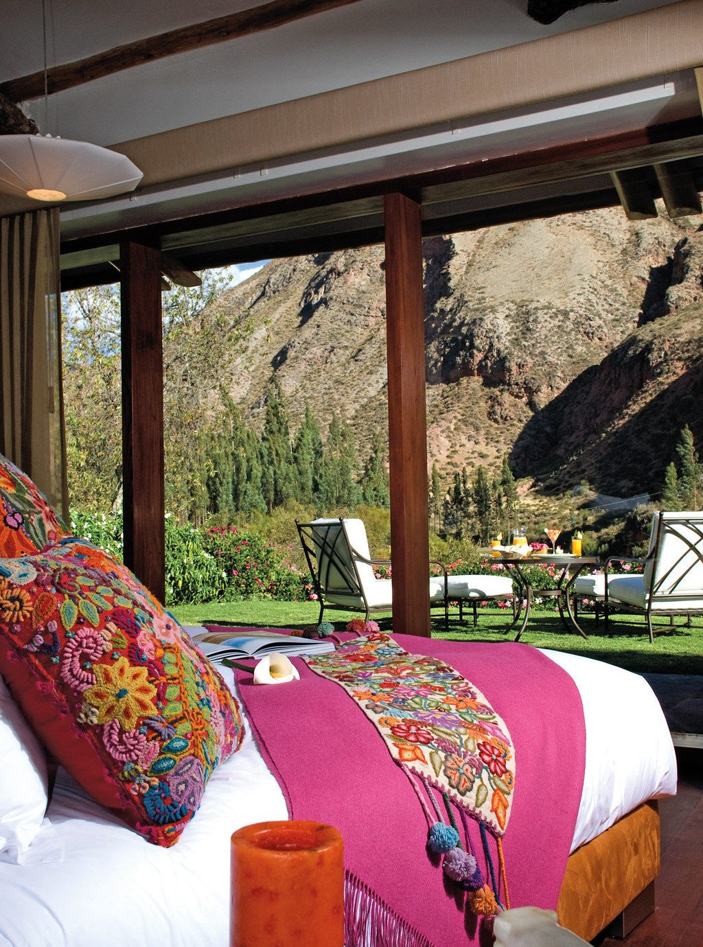 Bedroom Luxury Mountains Patio Scenic views Suite home porch cottage living room flower backyard