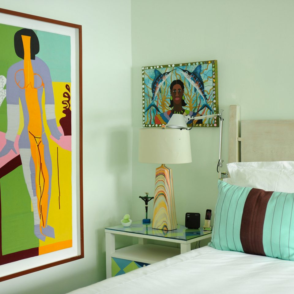 Bedroom Modern color modern art mural scene colorful art white colored pillow glass material painting painted bright
