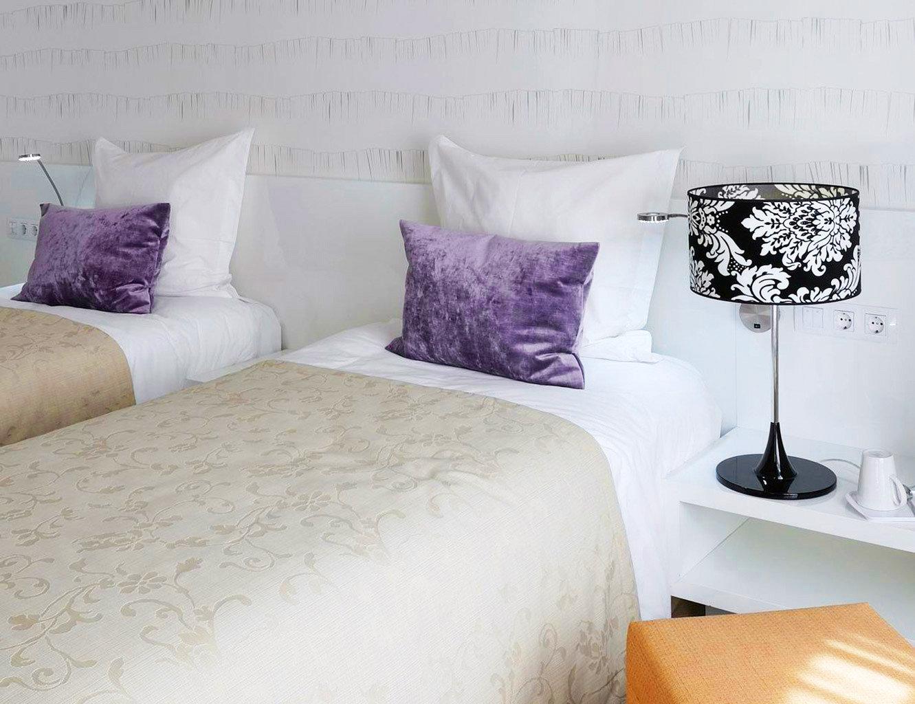 Bedroom Modern sofa pillow duvet cover bed sheet textile material lamp night colored tan