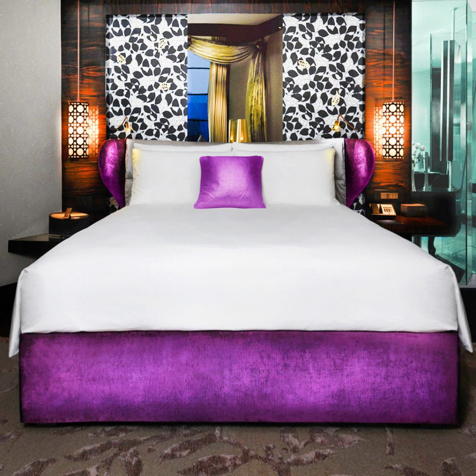 Bedroom Modern Resort purple bed sheet textile bed frame duvet cover material colored