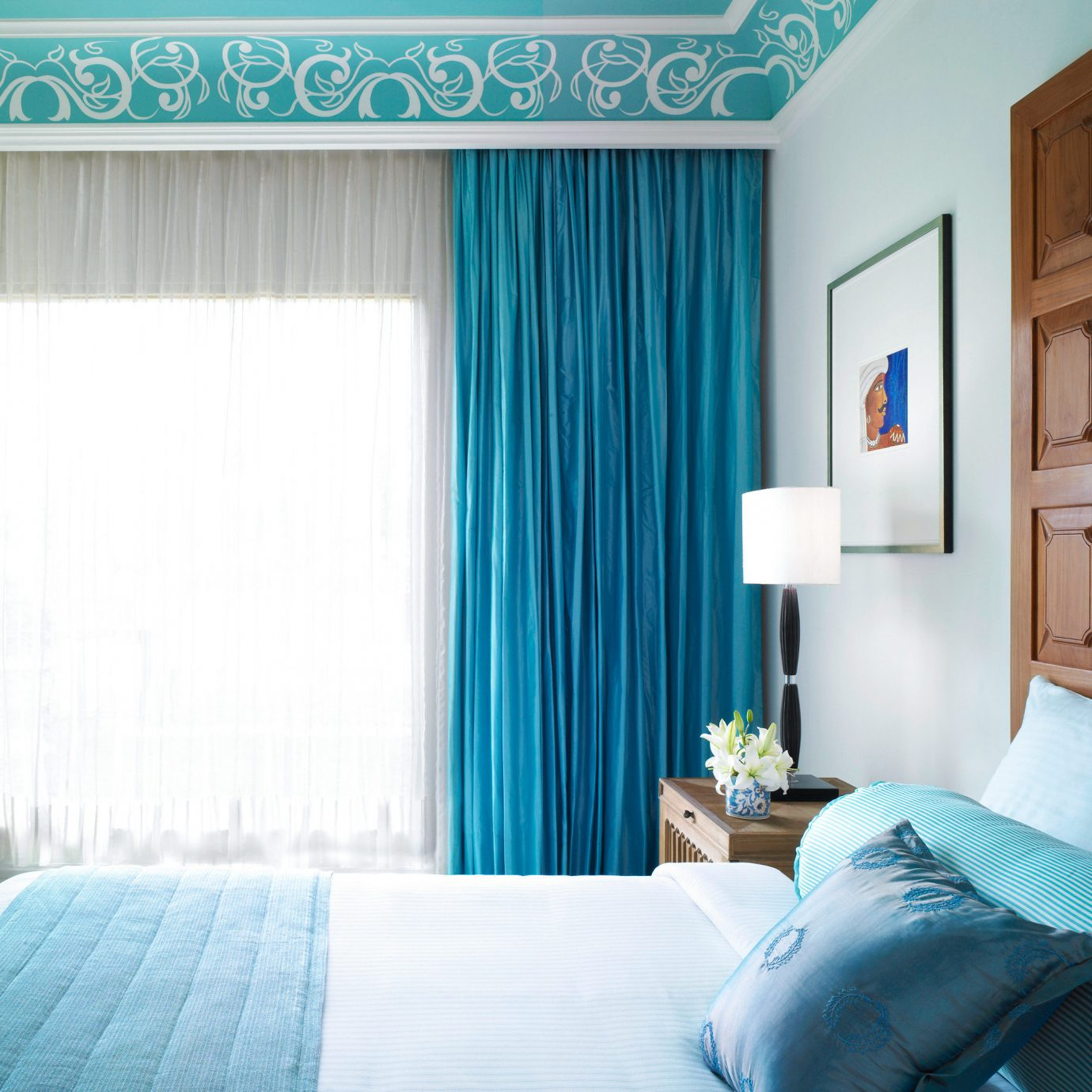 Bedroom Modern Resort color blue curtain home green Suite textile living room window treatment