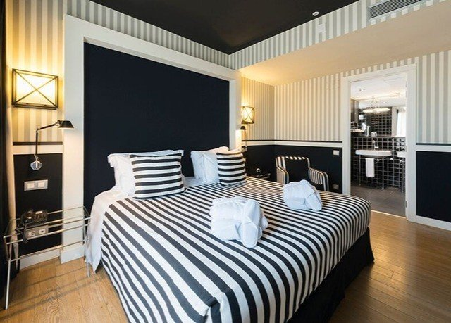 Bedroom property Modern Suite white bed sheet striped condominium bed frame flat