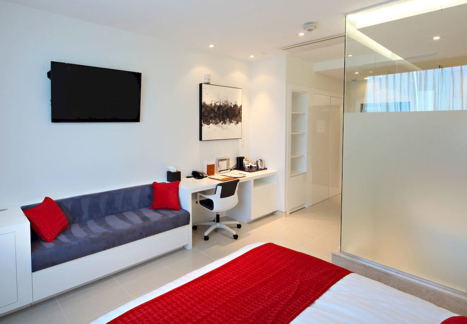 red property living room Suite condominium white Bedroom home loft Modern clean flat