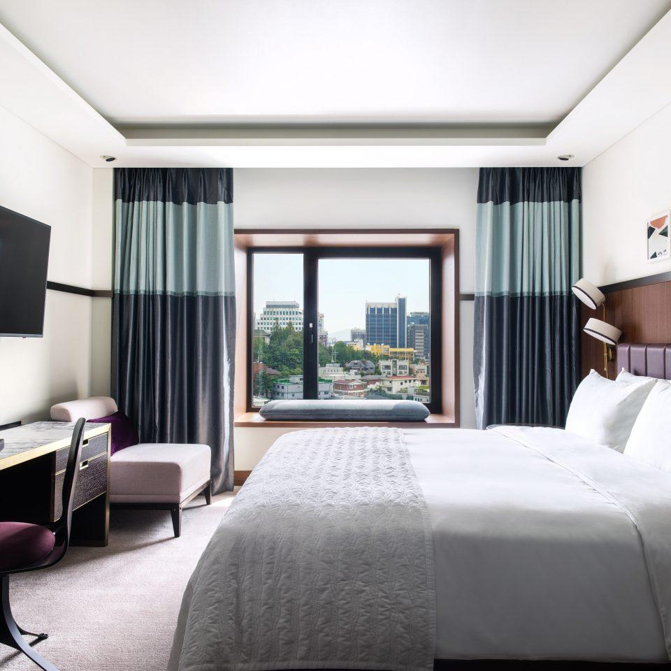 sofa Bedroom Suite window treatment pillow interior designer curtain condominium lamp flat Modern
