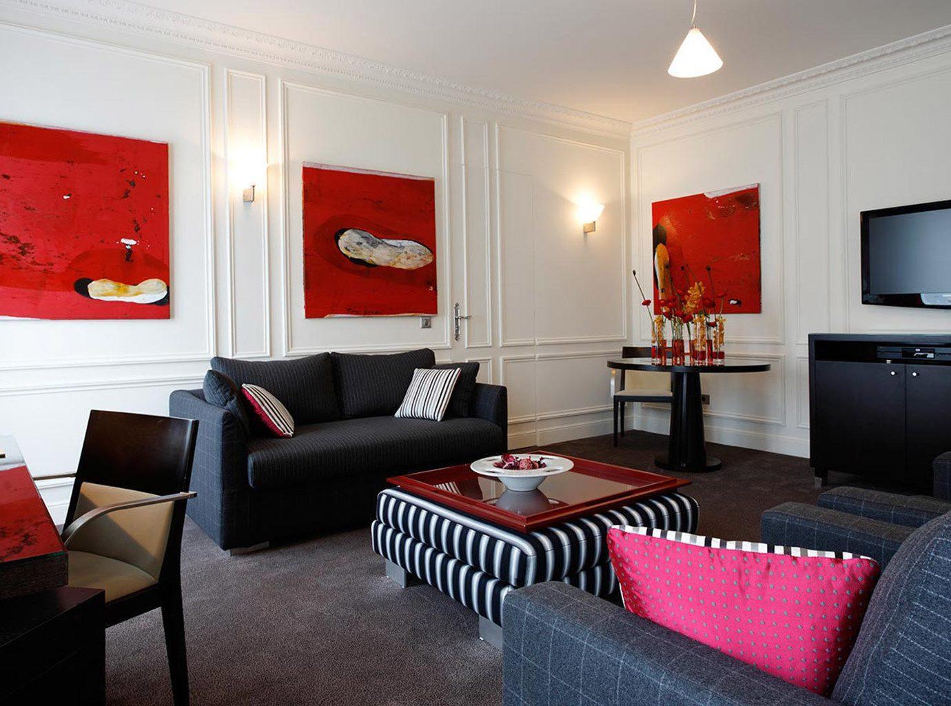 property red living room home Suite cottage flat Bedroom Modern leather
