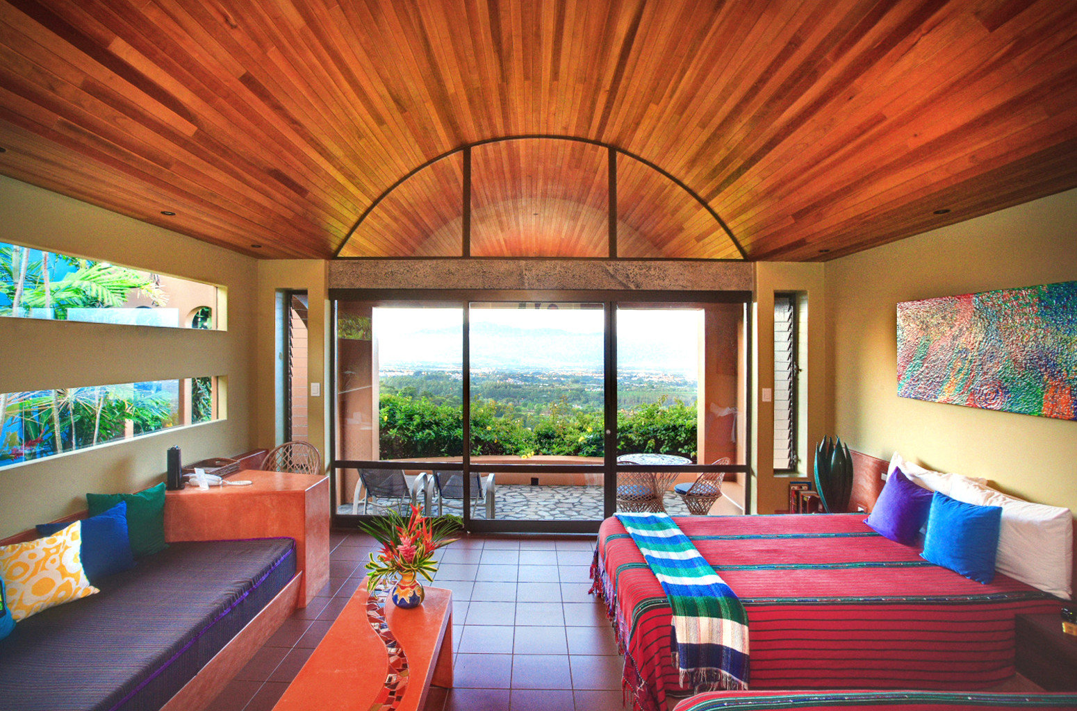 Bedroom Outdoors Patio Scenic views Suite Wellness property Resort living room home Villa cottage colorful bright
