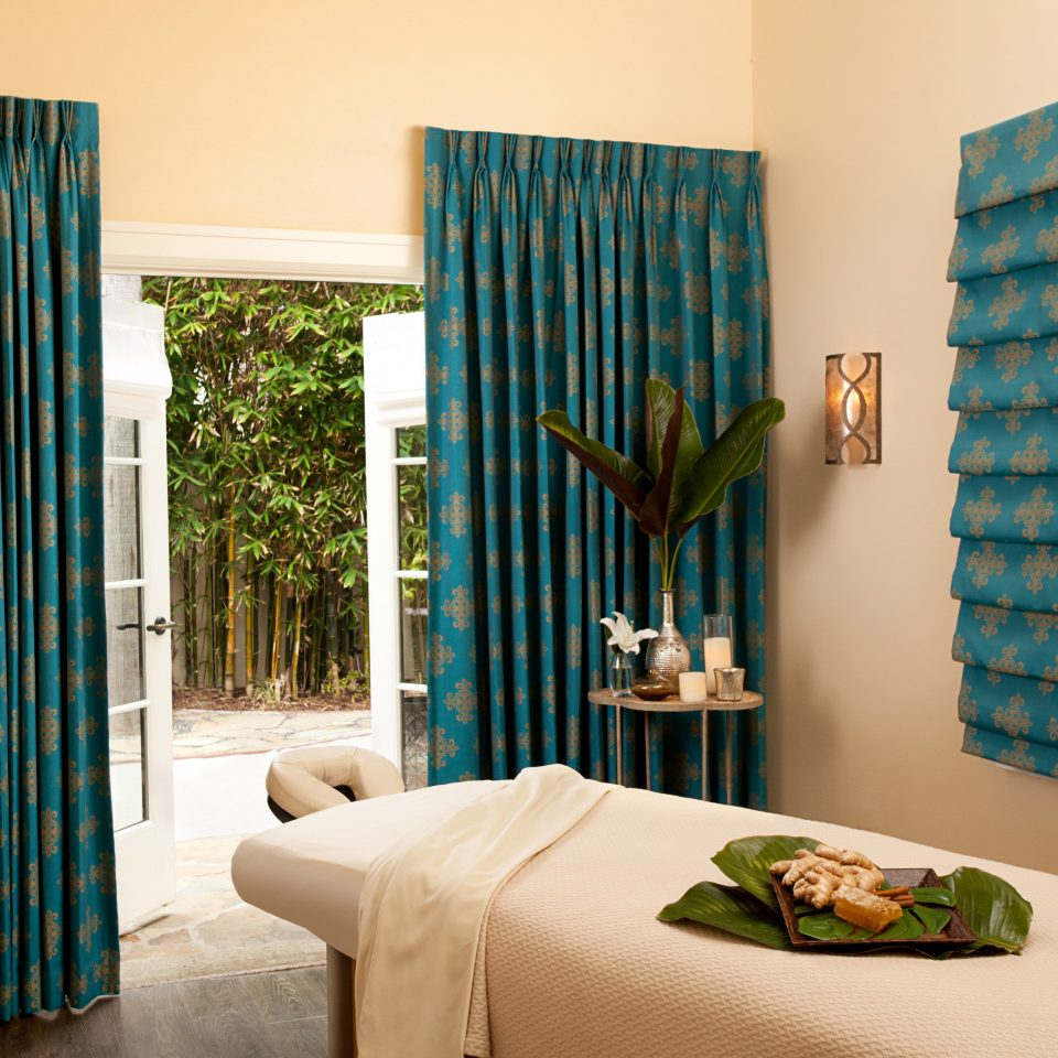 Resort Spa curtain blue green textile window treatment material Bedroom living room decor