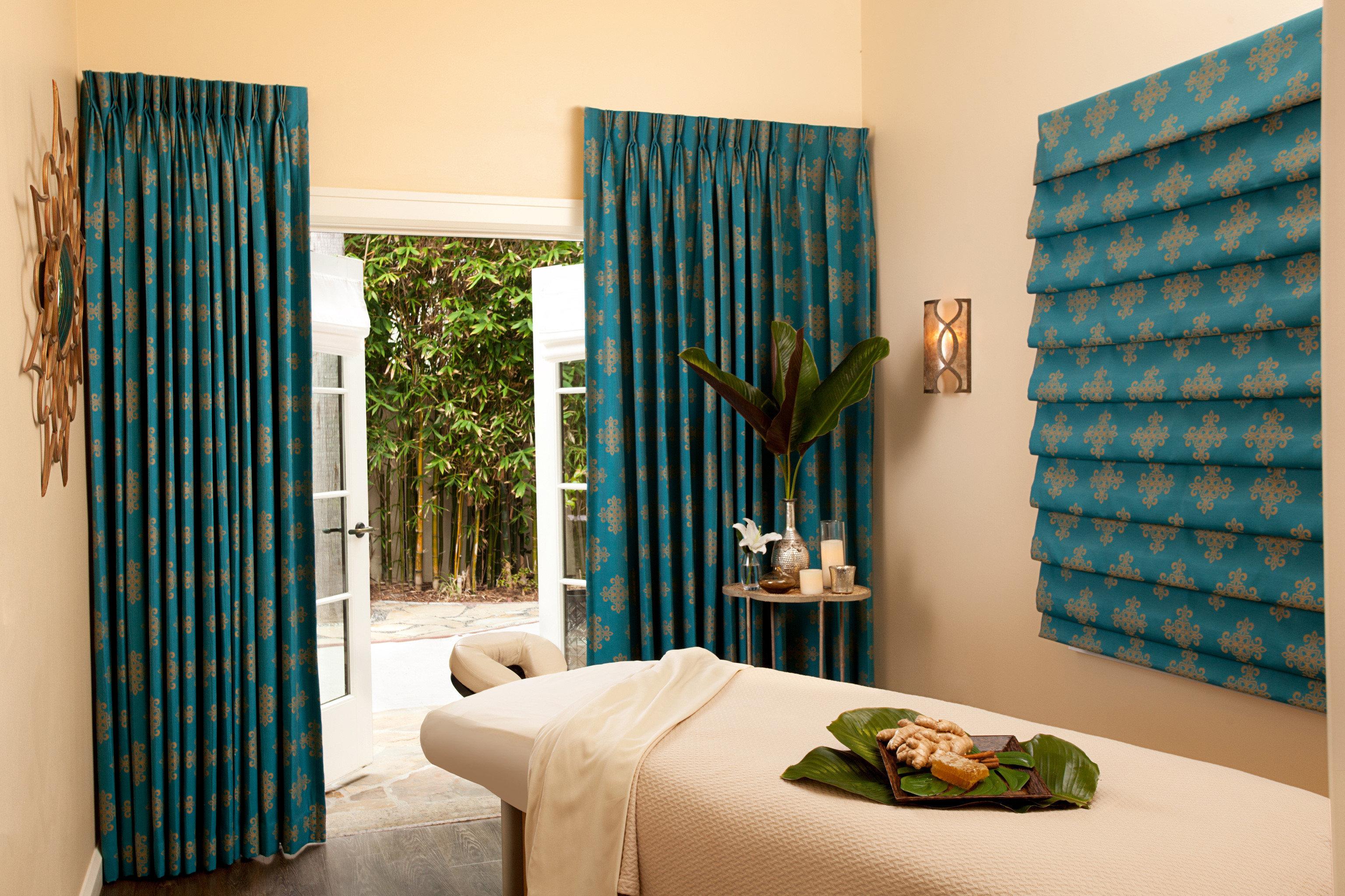 Resort Spa curtain blue green textile window treatment material Bedroom living room decor