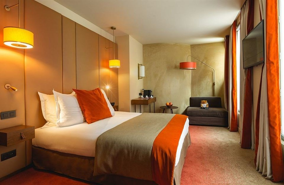 Bedroom property Suite building orange cottage Villa Resort lamp