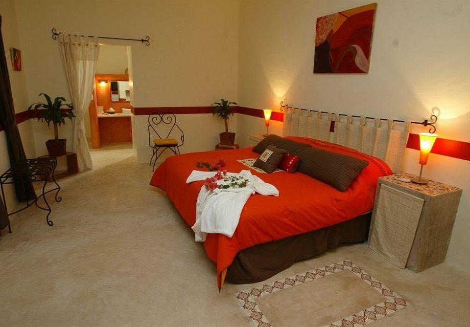Bedroom Rustic Suite property red cottage orange Villa bed sheet