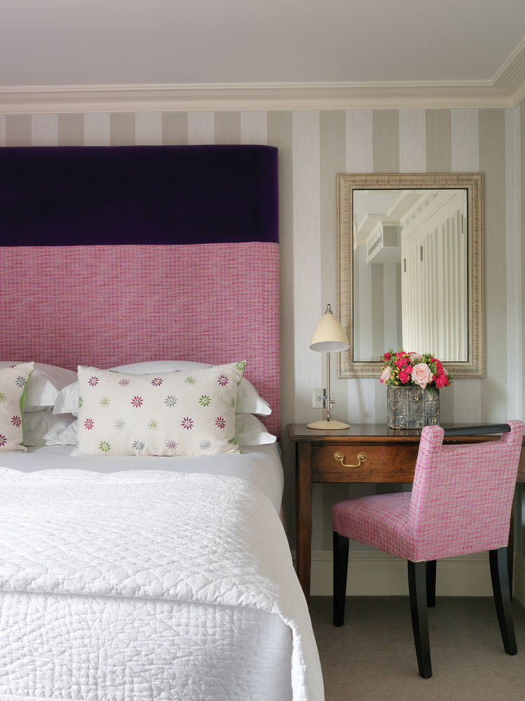 pink red chair Bedroom bed sheet pillow Suite textile living room cottage bed frame curtain purple lamp