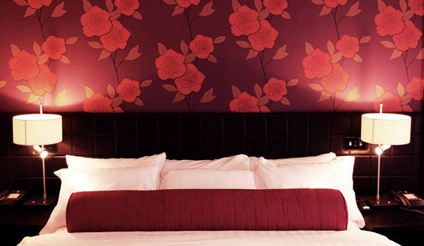 sofa red night petal lighting Suite Bedroom wallpaper pillow decor light fixture bed sheet bed frame orange