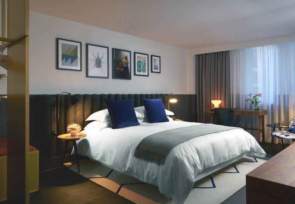 Bedroom Suite desk bed frame scene home bed sheet bedding mattress interior designer flat lamp