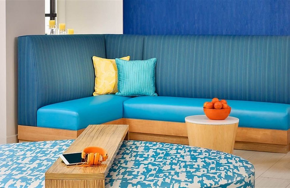 blue living room bed sheet Suite cottage couch bed frame colorful Bedroom bright painted colored containing