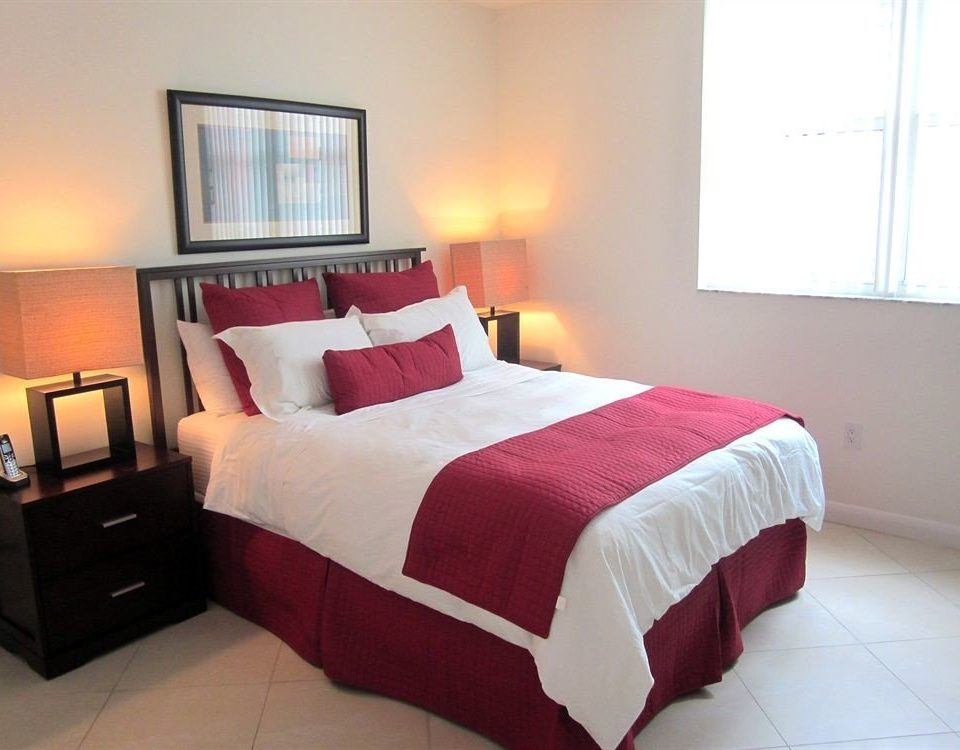 Bedroom red property bed sheet Suite bed frame cottage lamp