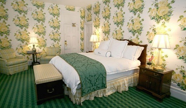 green Bedroom bed frame home Suite bed sheet mattress bedding textile product wallpaper linens interior designer