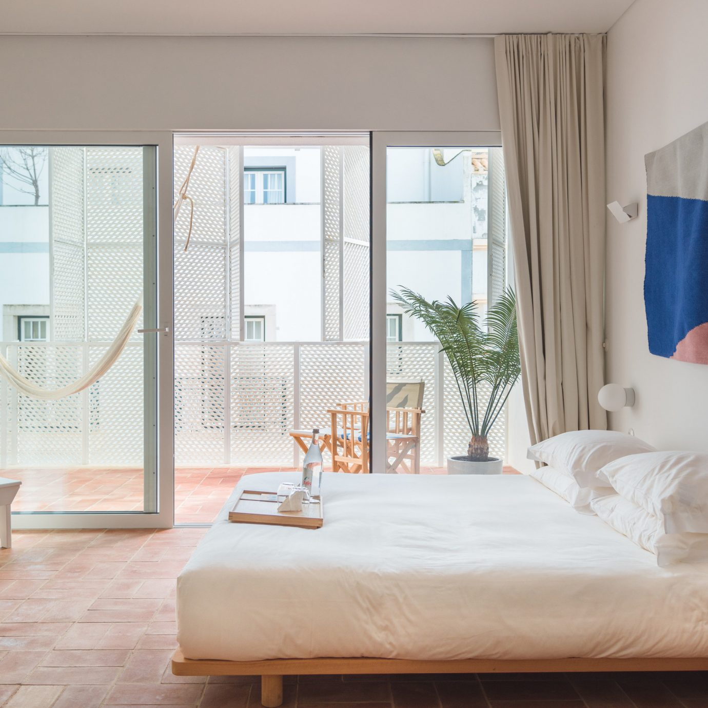 home Bedroom bed frame window treatment curtain textile Suite door mattress bedding product house daylighting window blind interior designer
