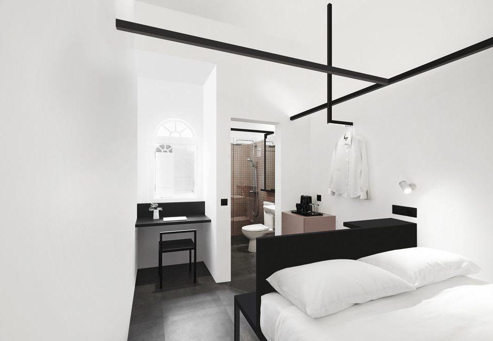 white bed frame product design home interior designer light fixture loft Bedroom Suite black and white