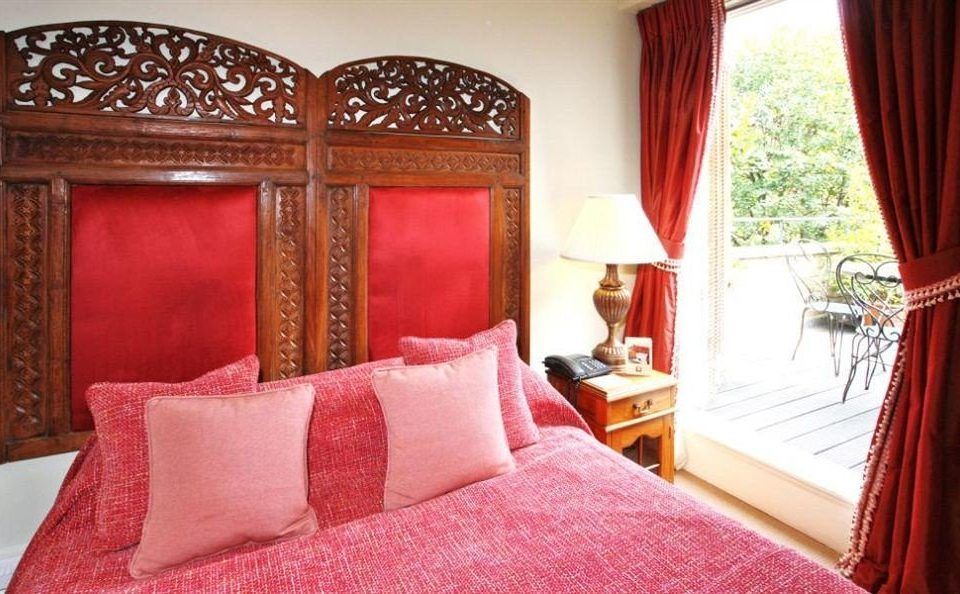 red curtain Suite Bedroom bed sheet cottage textile bright