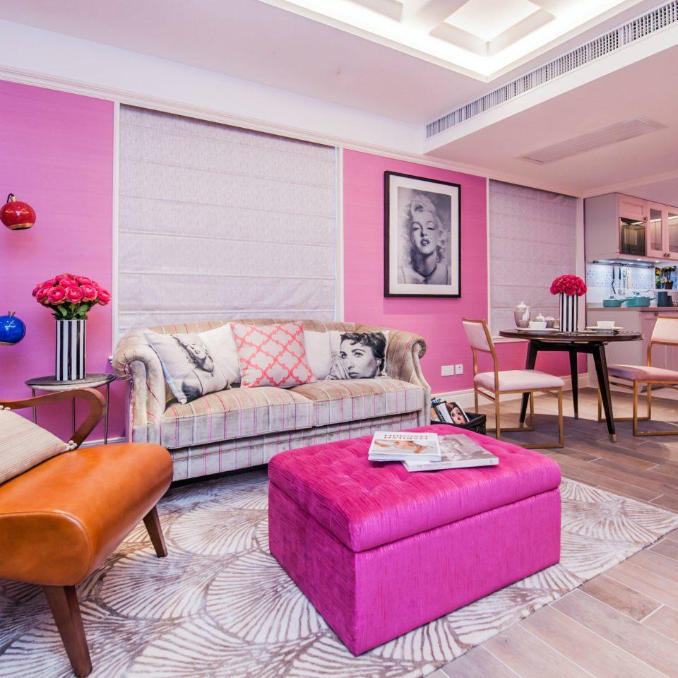 pink property living room Bedroom home hardwood cottage Suite bed sheet colored