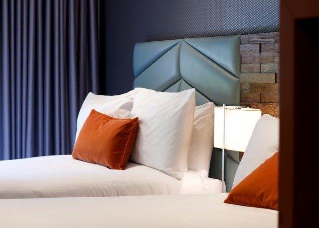 curtain Suite pillow orange bed sheet Bedroom lamp night