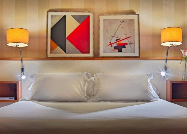 Bedroom modern art pillow bed sheet Suite lighting yellow orange lamp night