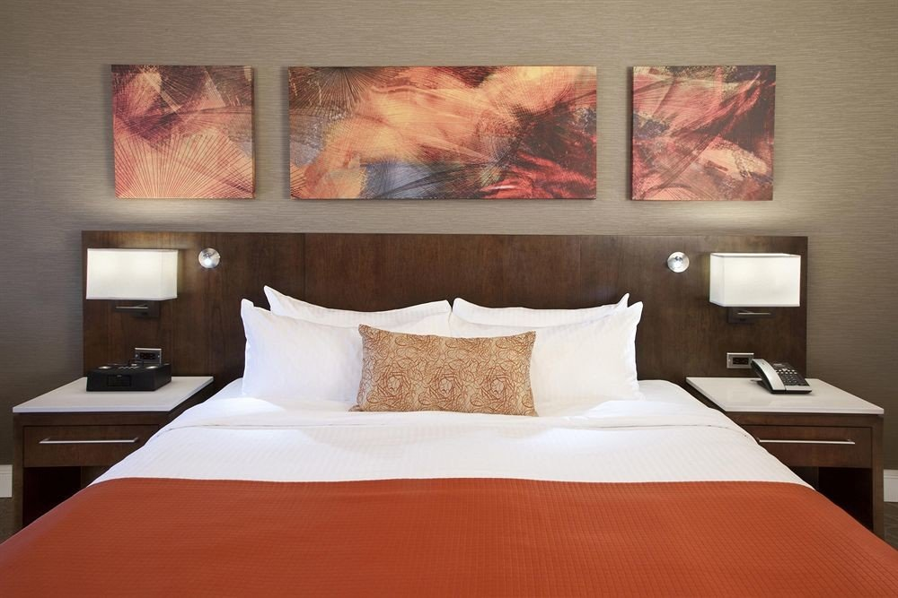 red Bedroom pillow Suite bed sheet orange night painting