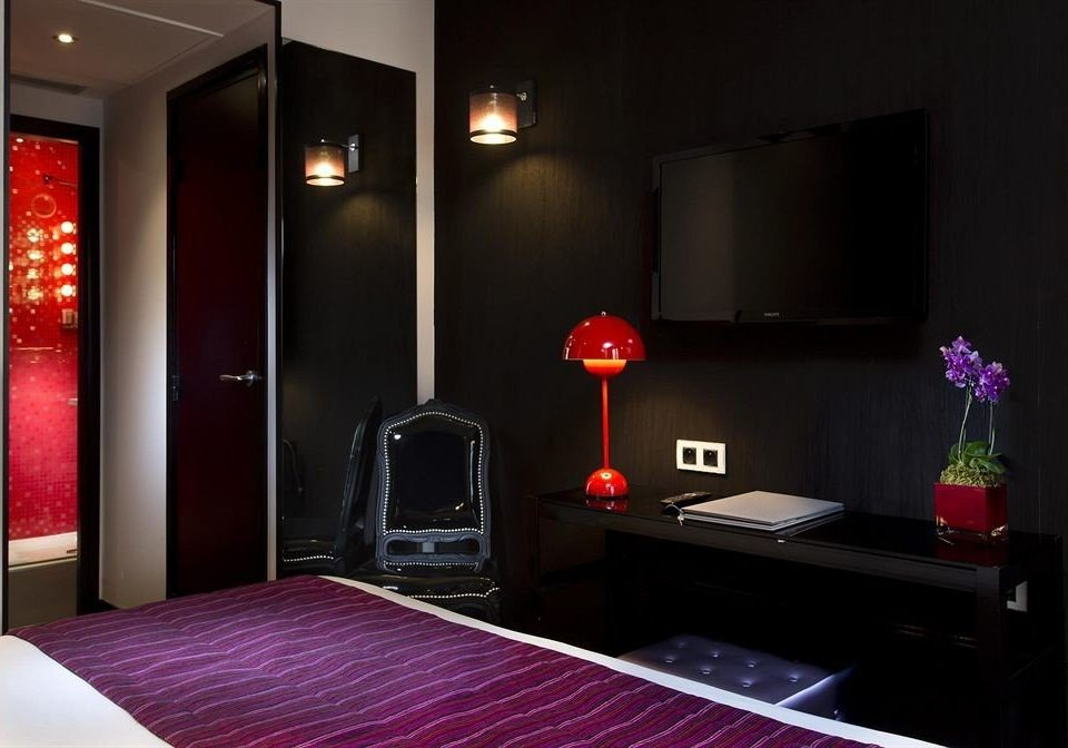 red property Suite black purple living room dark Bedroom