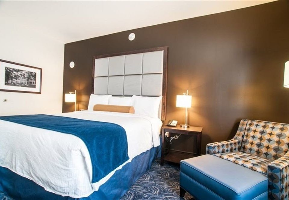 Bedroom property scene blue Suite cottage lamp