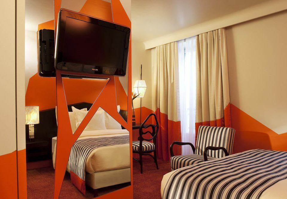 chair Bedroom Suite orange living room striped cottage