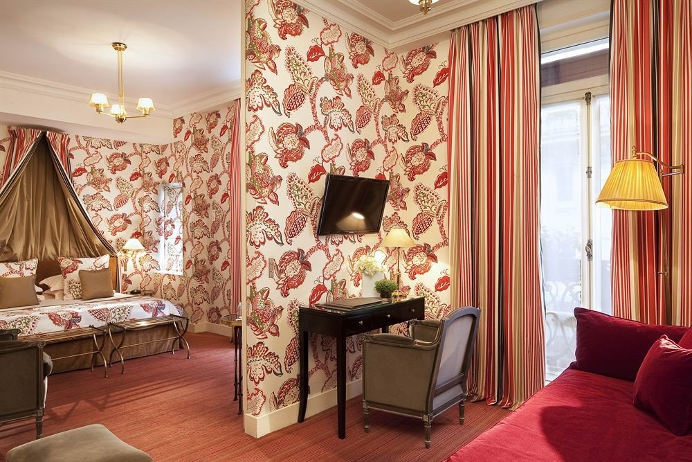 chair property curtain red Suite living room cottage home Bedroom