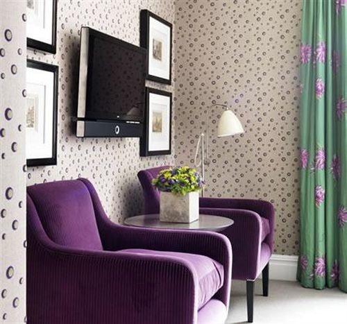 curtain chair living room purple wallpaper Suite Bedroom