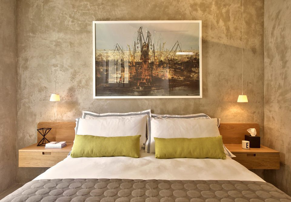 Bedroom scene Suite pillow tan colored